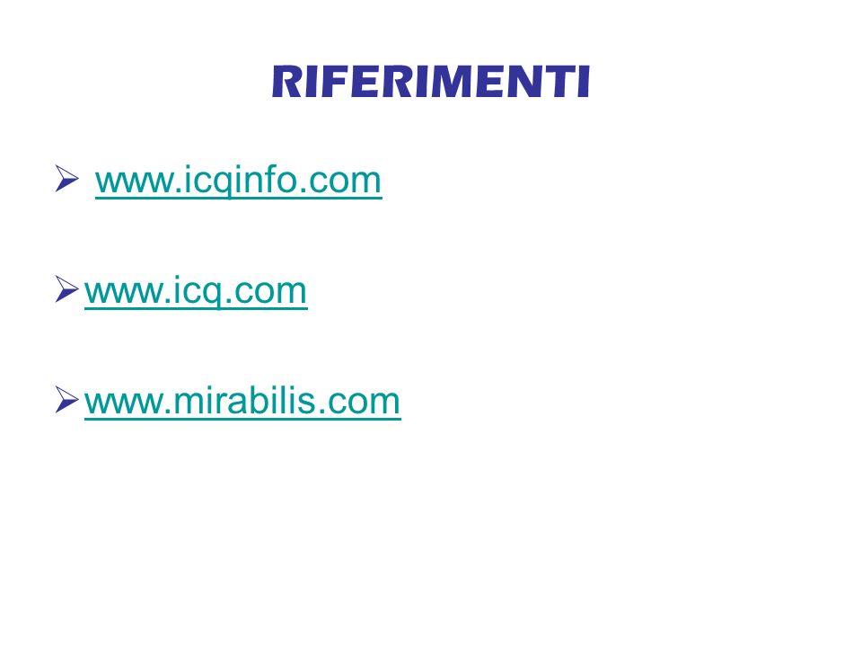 RIFERIMENTI www.icqinfo.com www.icq.com www.mirabilis.com
