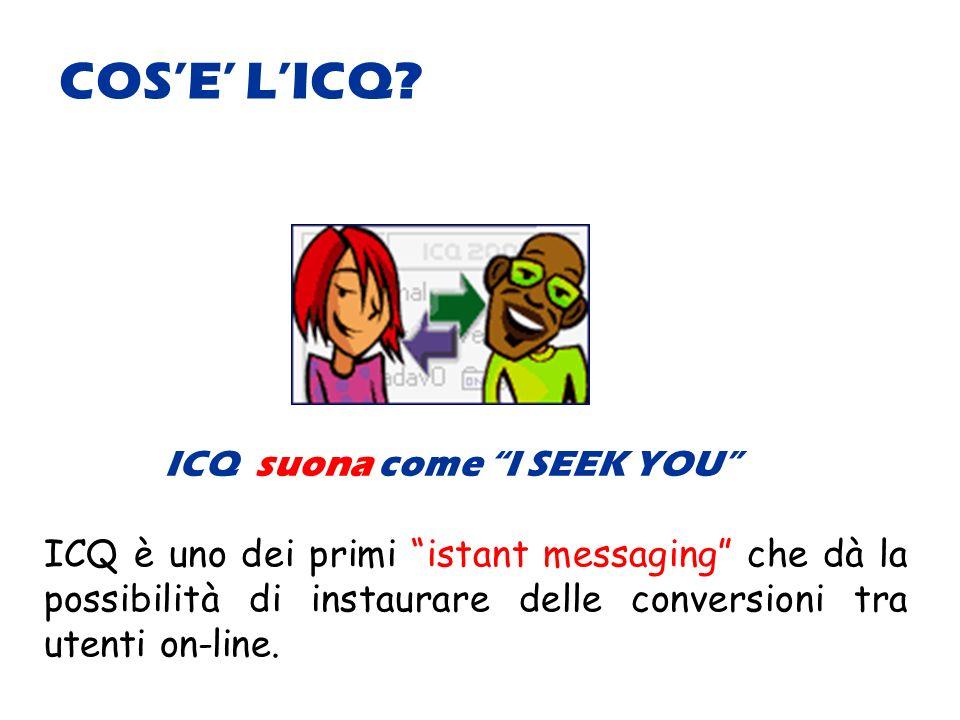 ICQ suona come I SEEK YOU ICQ è uno dei primi istant messaging che dà la possibilità di instaurare delle conversioni tra utenti on-line.