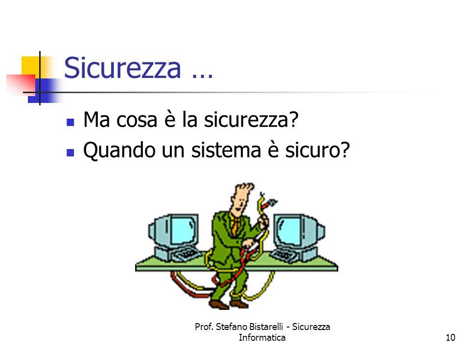Prof. Stefano Bistarelli - Sicurezza Informatica10 Sicurezza … Ma cosa è la sicurezza? Quando un sistema è sicuro?