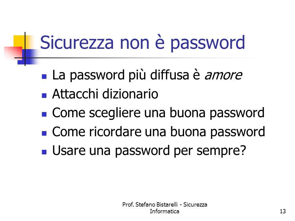 Prof. Stefano Bistarelli - Sicurezza Informatica13 Sicurezza non è password La password più diffusa è amore Attacchi dizionario Come scegliere una buo