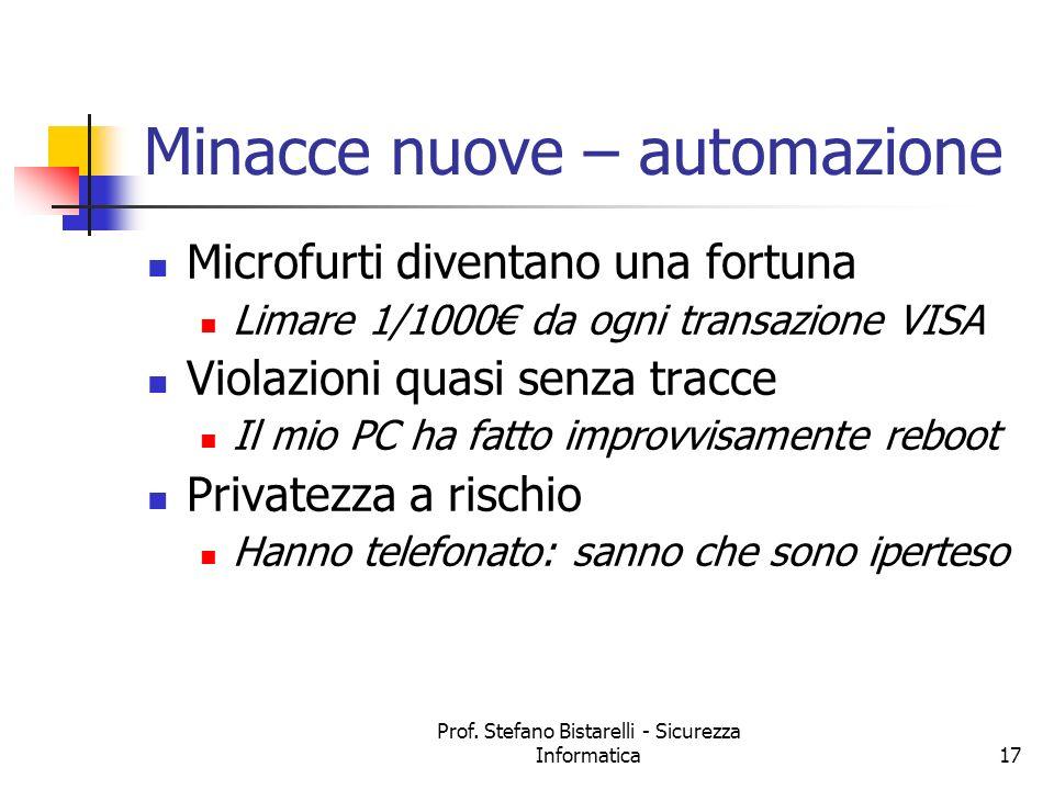 Prof. Stefano Bistarelli - Sicurezza Informatica17 Minacce nuove – automazione Microfurti diventano una fortuna Limare 1/1000 da ogni transazione VISA