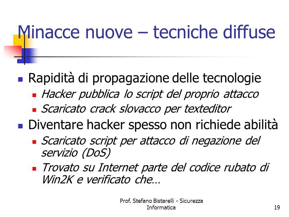 Prof. Stefano Bistarelli - Sicurezza Informatica19 Minacce nuove – tecniche diffuse Rapidità di propagazione delle tecnologie Hacker pubblica lo scrip