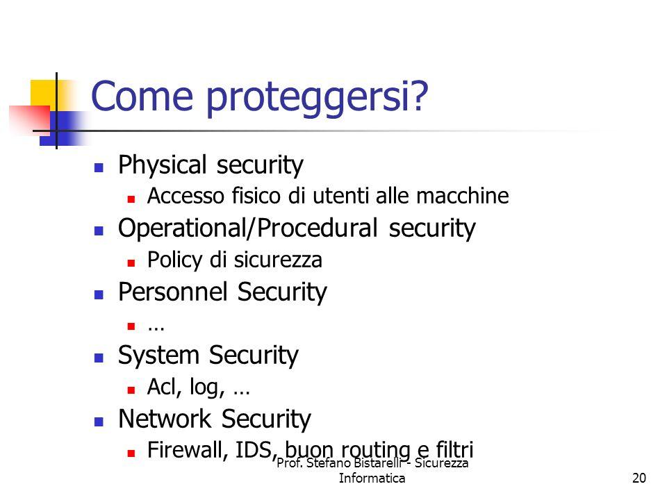 Prof. Stefano Bistarelli - Sicurezza Informatica20 Come proteggersi? Physical security Accesso fisico di utenti alle macchine Operational/Procedural s