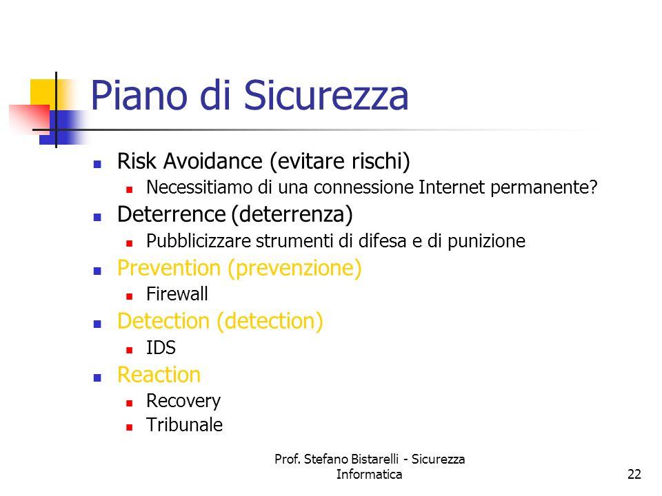 Prof. Stefano Bistarelli - Sicurezza Informatica22 Piano di Sicurezza Risk Avoidance (evitare rischi) Necessitiamo di una connessione Internet permane