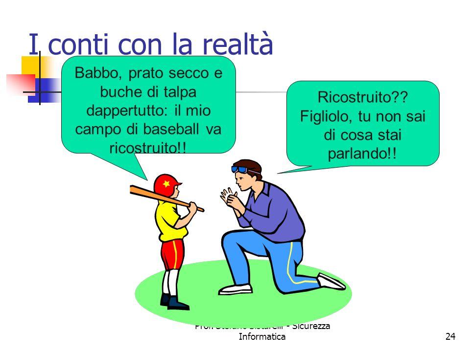 Prof. Stefano Bistarelli - Sicurezza Informatica24 I conti con la realtà Babbo, prato secco e buche di talpa dappertutto: il mio campo di baseball va