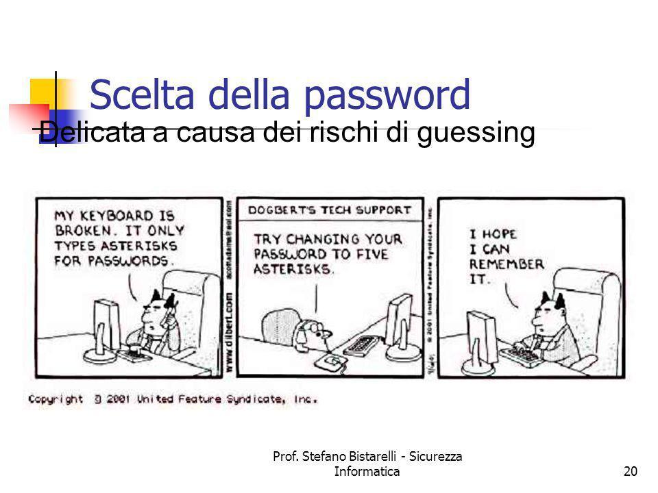 Prof. Stefano Bistarelli - Sicurezza Informatica20 Scelta della password Delicata a causa dei rischi di guessing