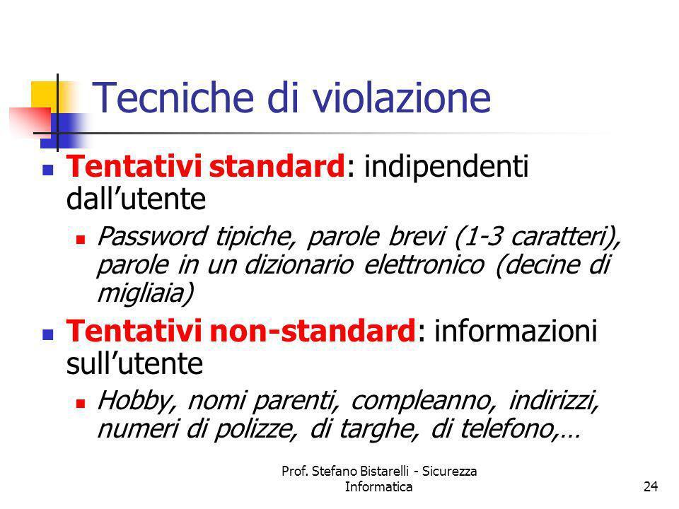 Prof. Stefano Bistarelli - Sicurezza Informatica24 Tecniche di violazione Tentativi standard: indipendenti dallutente Password tipiche, parole brevi (
