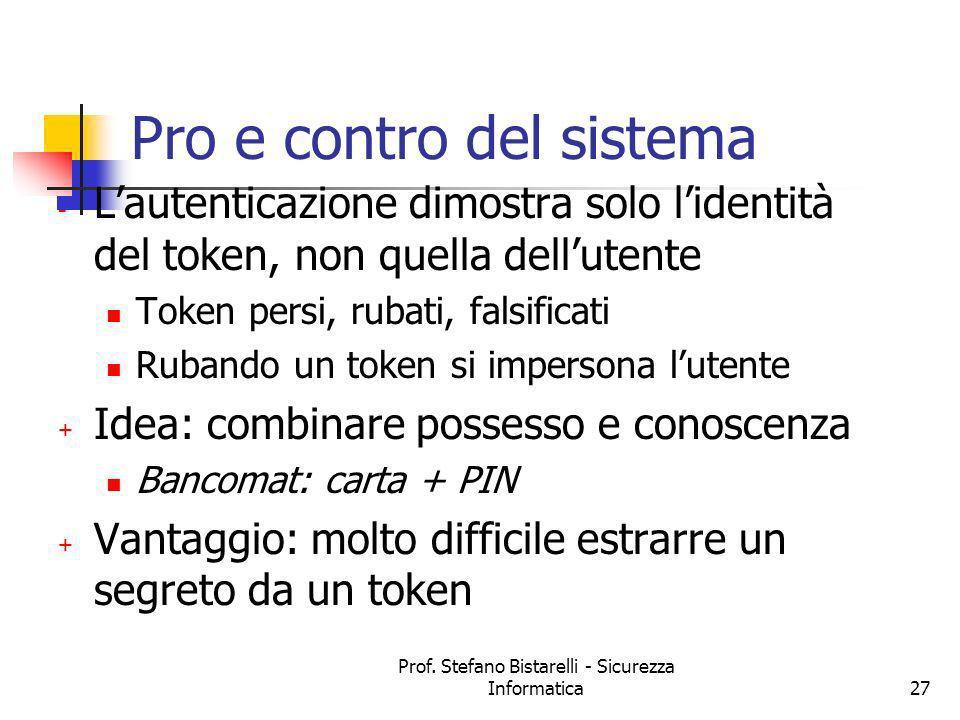 Prof. Stefano Bistarelli - Sicurezza Informatica27 Pro e contro del sistema - Lautenticazione dimostra solo lidentità del token, non quella dellutente