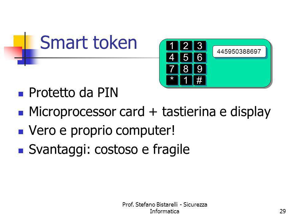 Prof. Stefano Bistarelli - Sicurezza Informatica29 Protetto da PIN Microprocessor card + tastierina e display Vero e proprio computer! Svantaggi: cost