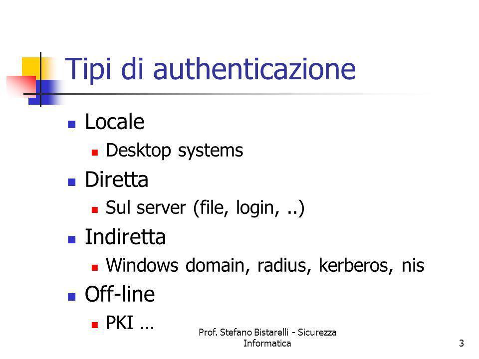 Prof. Stefano Bistarelli - Sicurezza Informatica3 Tipi di authenticazione Locale Desktop systems Diretta Sul server (file, login,..) Indiretta Windows