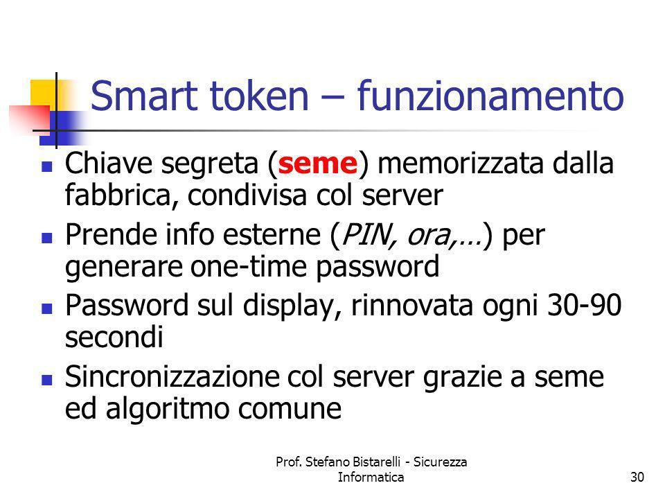 Prof. Stefano Bistarelli - Sicurezza Informatica30 Smart token – funzionamento Chiave segreta (seme) memorizzata dalla fabbrica, condivisa col server