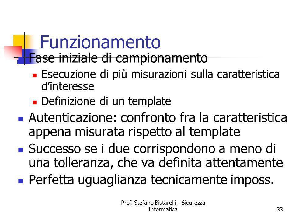 Prof. Stefano Bistarelli - Sicurezza Informatica33 Funzionamento Fase iniziale di campionamento Esecuzione di più misurazioni sulla caratteristica din