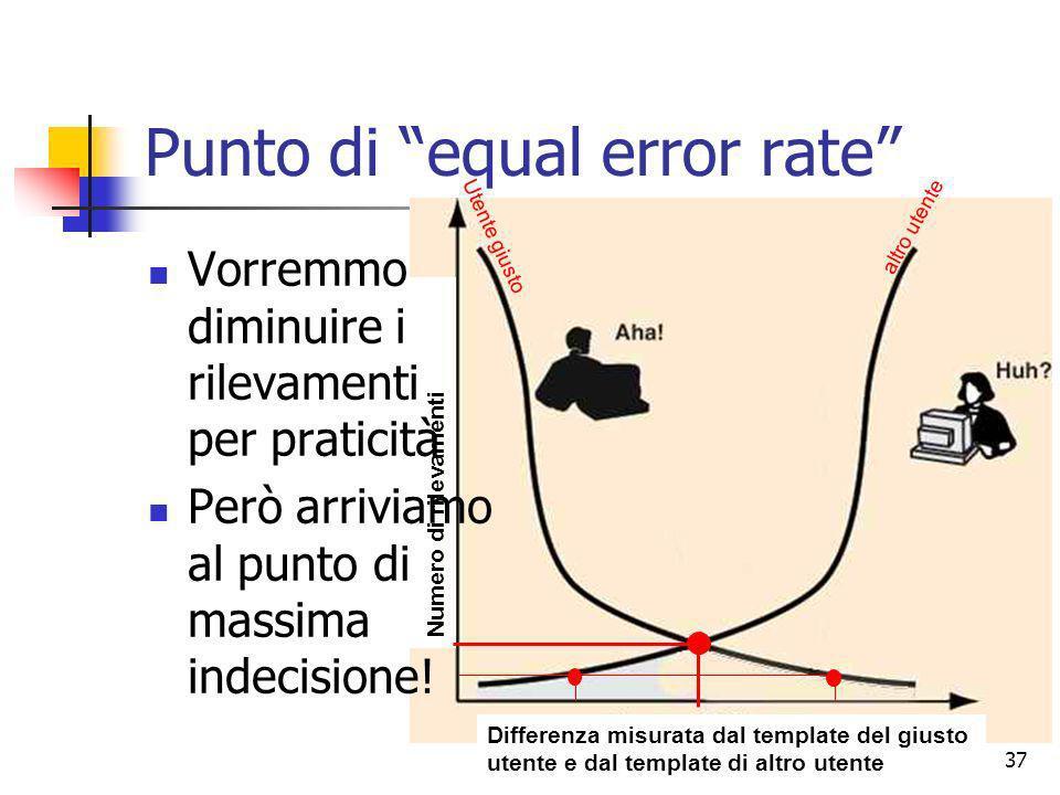 Prof. Stefano Bistarelli - Sicurezza Informatica37 Punto di equal error rate Differenza misurata dal template del giusto utente e dal template di altr