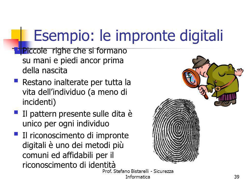 Prof. Stefano Bistarelli - Sicurezza Informatica39 Esempio: le impronte digitali Piccole righe che si formano su mani e piedi ancor prima della nascit