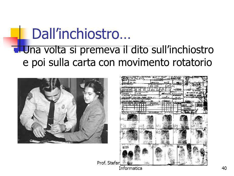 Prof. Stefano Bistarelli - Sicurezza Informatica40 Dallinchiostro… Una volta si premeva il dito sullinchiostro e poi sulla carta con movimento rotator