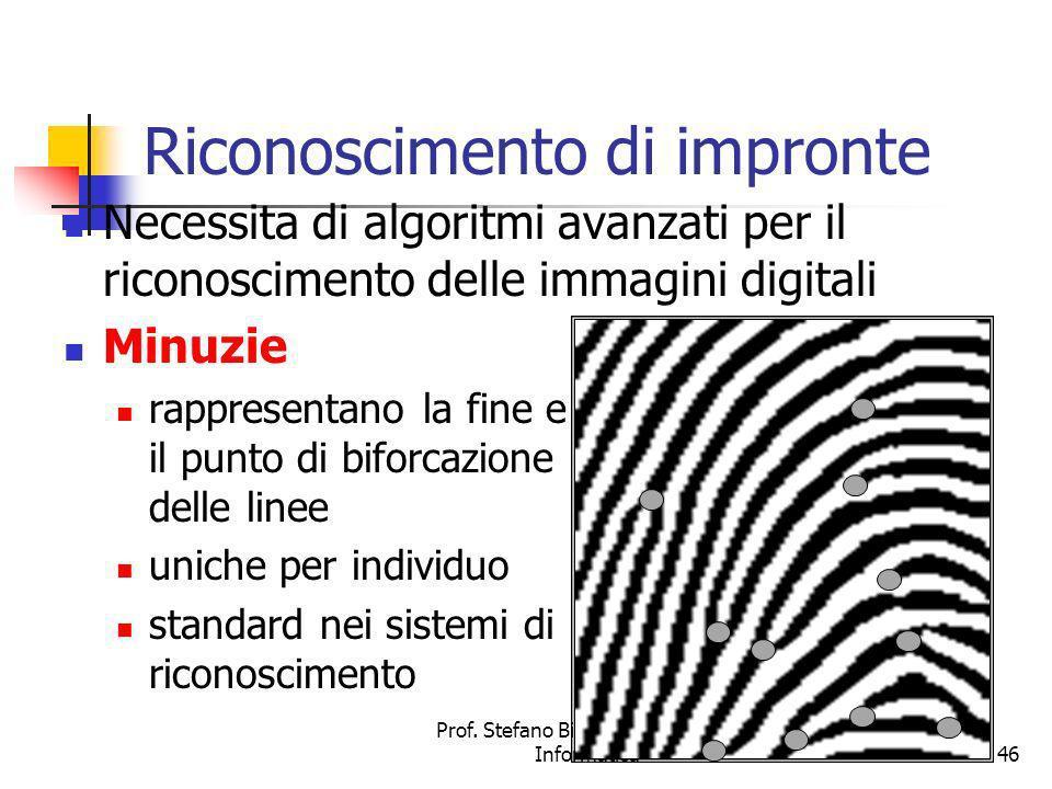 Prof. Stefano Bistarelli - Sicurezza Informatica46 Riconoscimento di impronte Necessita di algoritmi avanzati per il riconoscimento delle immagini dig