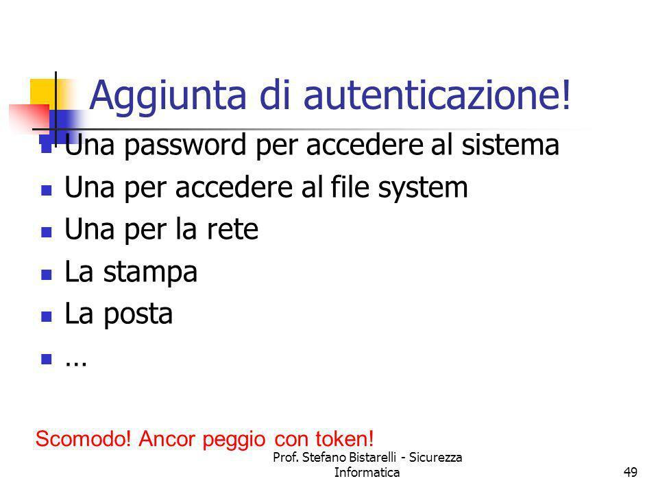 Prof. Stefano Bistarelli - Sicurezza Informatica49 Aggiunta di autenticazione! Una password per accedere al sistema Una per accedere al file system Un