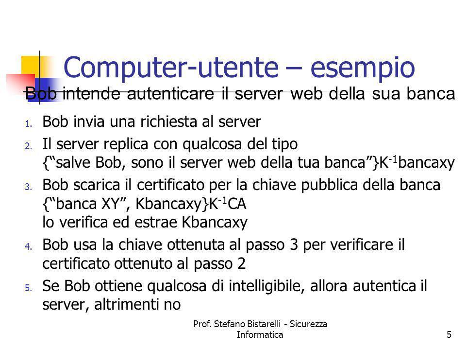 Prof. Stefano Bistarelli - Sicurezza Informatica5 Computer-utente – esempio 1. Bob invia una richiesta al server 2. Il server replica con qualcosa del