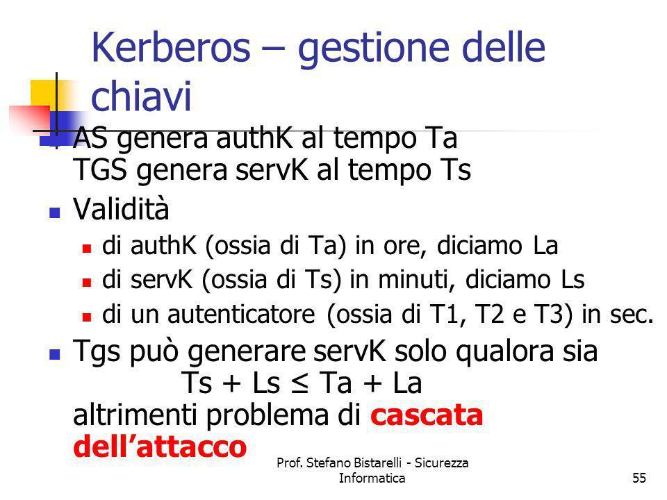 Prof. Stefano Bistarelli - Sicurezza Informatica55 Kerberos – gestione delle chiavi AS genera authK al tempo Ta TGS genera servK al tempo Ts Validità