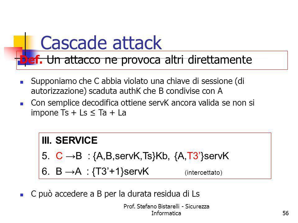 Prof. Stefano Bistarelli - Sicurezza Informatica56 Cascade attack Supponiamo che C abbia violato una chiave di sessione (di autorizzazione) scaduta au