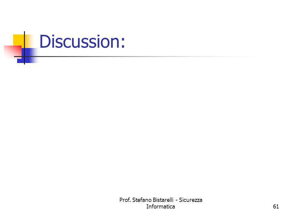 Prof. Stefano Bistarelli - Sicurezza Informatica61 Discussion: