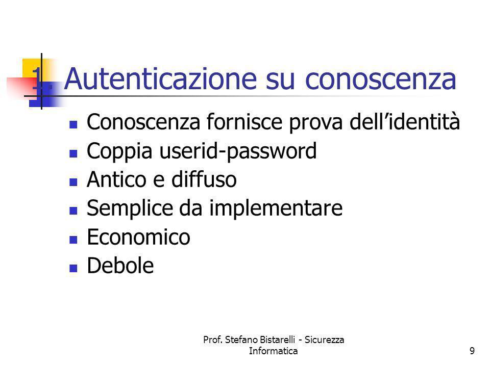Prof. Stefano Bistarelli - Sicurezza Informatica9 1. Autenticazione su conoscenza Conoscenza fornisce prova dellidentità Coppia userid-password Antico