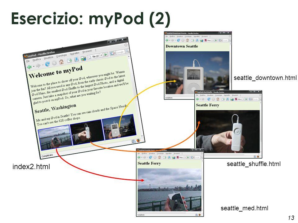 13 Esercizio: myPod (2) index2.html seattle_downtown.html seattle_med.html seattle_shuffle.html