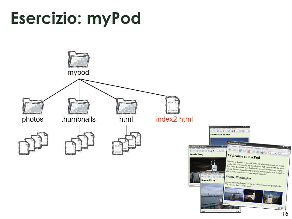 16 Esercizio: myPod photosthumbnailsindex2.html mypod html