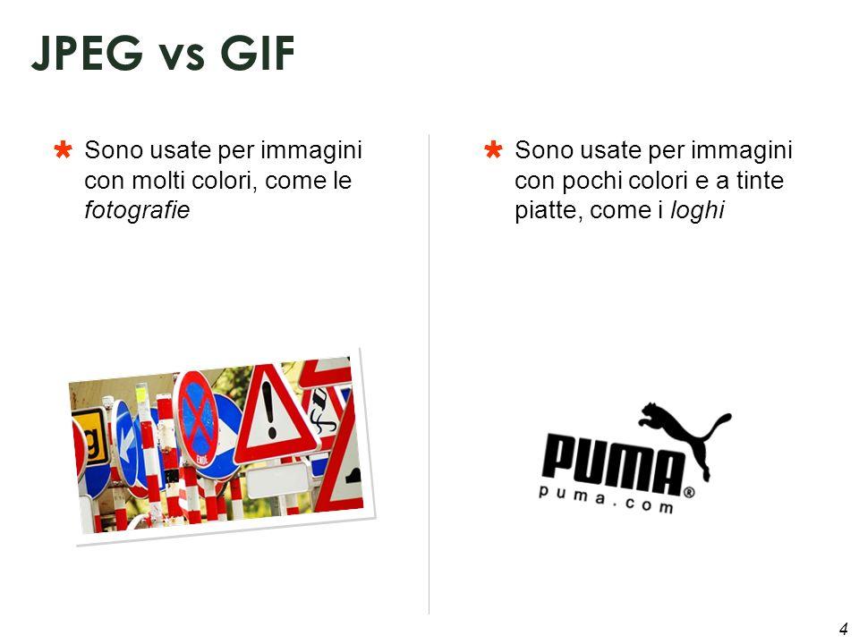 4 Sono usate per immagini con molti colori, come le fotografie JPEG vs GIF Sono usate per immagini con pochi colori e a tinte piatte, come i loghi