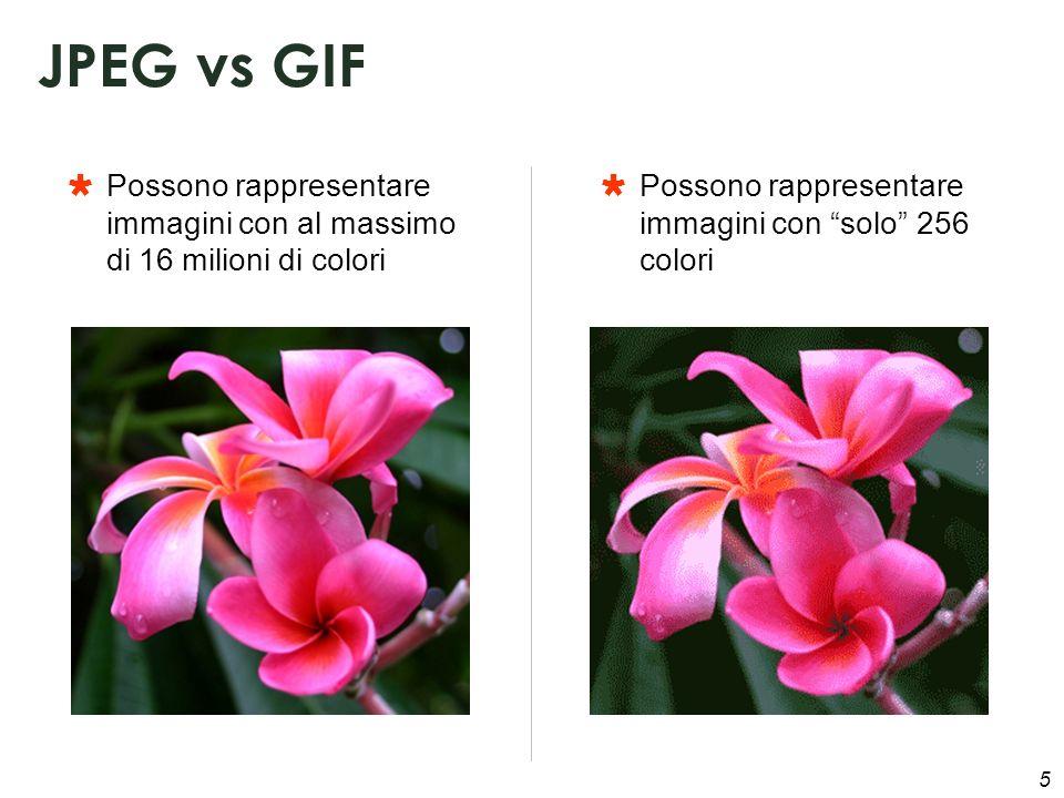5 Possono rappresentare immagini con al massimo di 16 milioni di colori JPEG vs GIF Possono rappresentare immagini con solo 256 colori