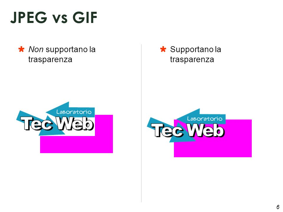 6 Non supportano la trasparenza JPEG vs GIF Supportano la trasparenza