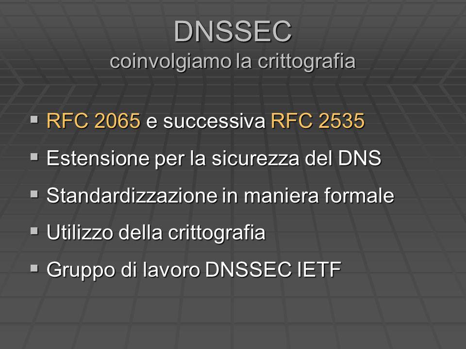 DNSSEC coinvolgiamo la crittografia RFC 2065 e successiva RFC 2535 RFC 2065 e successiva RFC 2535 Estensione per la sicurezza del DNS Estensione per la sicurezza del DNS Standardizzazione in maniera formale Standardizzazione in maniera formale Utilizzo della crittografia Utilizzo della crittografia Gruppo di lavoro DNSSEC IETF Gruppo di lavoro DNSSEC IETF