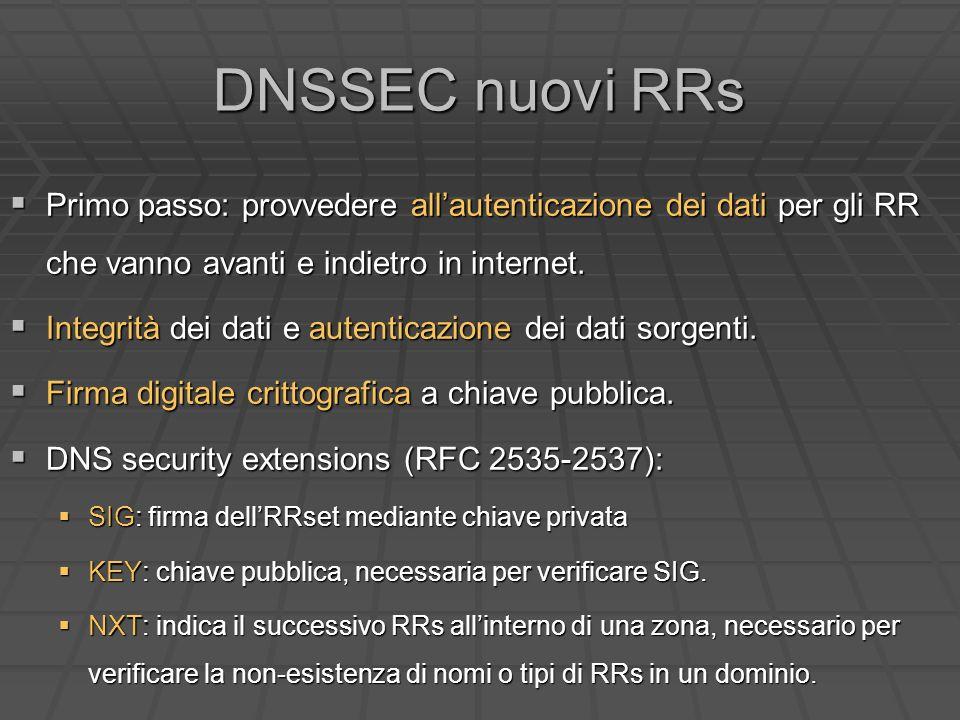 DNSSEC nuovi RRs Primo passo: provvedere allautenticazione dei dati per gli RR che vanno avanti e indietro in internet.
