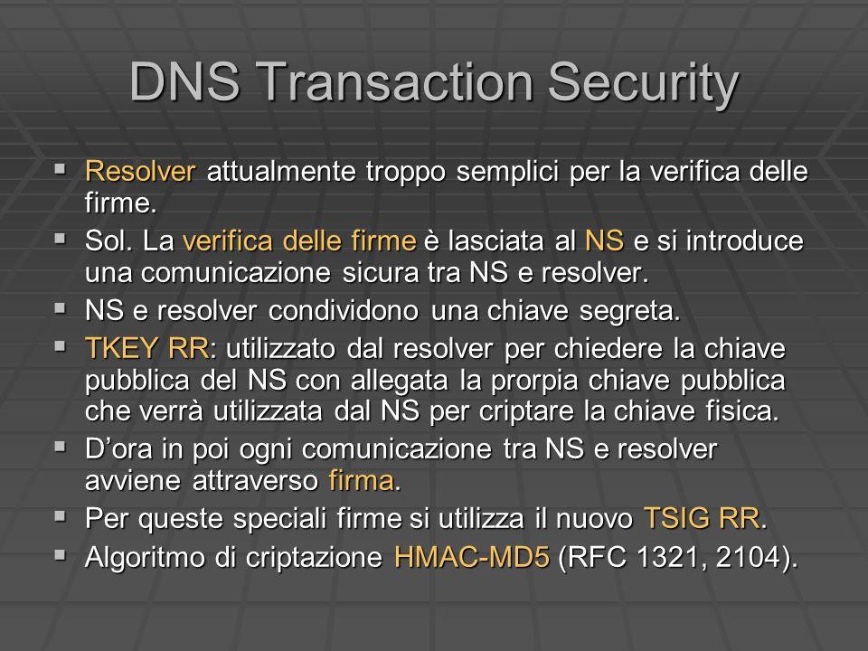 DNS Transaction Security Resolver attualmente troppo semplici per la verifica delle firme.