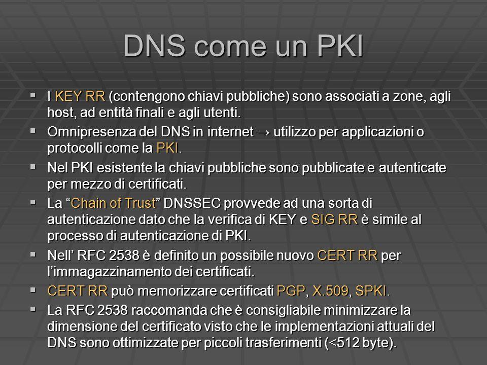 DNS come un PKI I KEY RR (contengono chiavi pubbliche) sono associati a zone, agli host, ad entità finali e agli utenti.