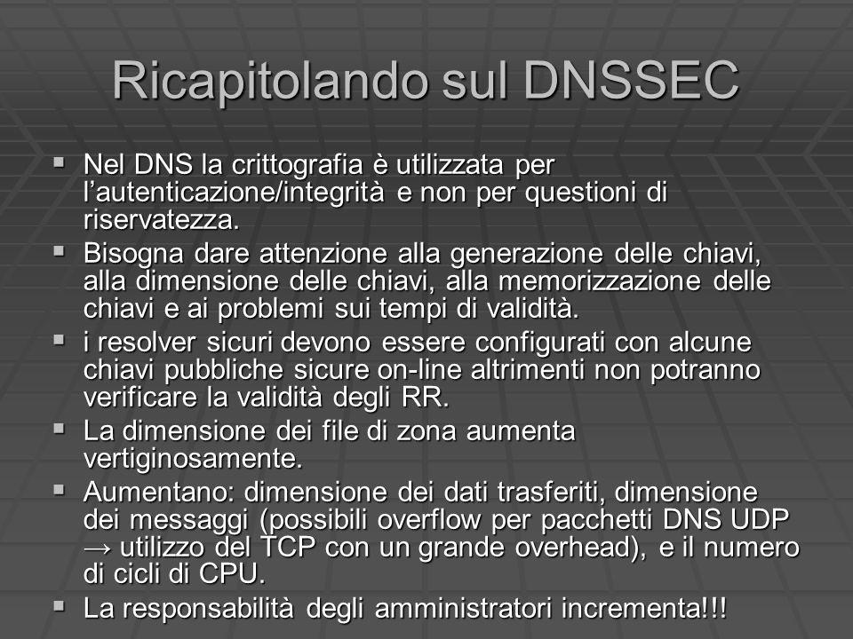 Ricapitolando sul DNSSEC Nel DNS la crittografia è utilizzata per lautenticazione/integrità e non per questioni di riservatezza.