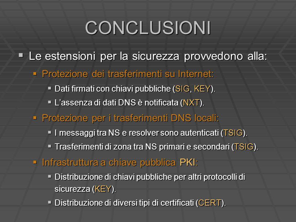 CONCLUSIONI Le estensioni per la sicurezza provvedono alla: Le estensioni per la sicurezza provvedono alla: Protezione dei trasferimenti su Internet: Protezione dei trasferimenti su Internet: Dati firmati con chiavi pubbliche (SIG, KEY).