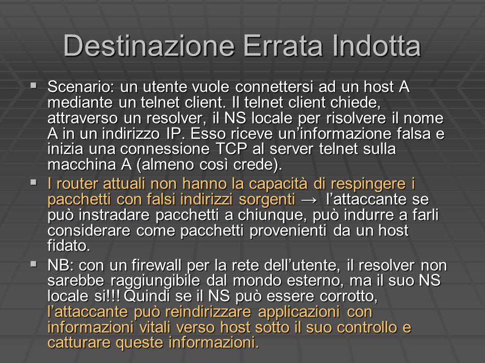Destinazione Errata Indotta Scenario: un utente vuole connettersi ad un host A mediante un telnet client.