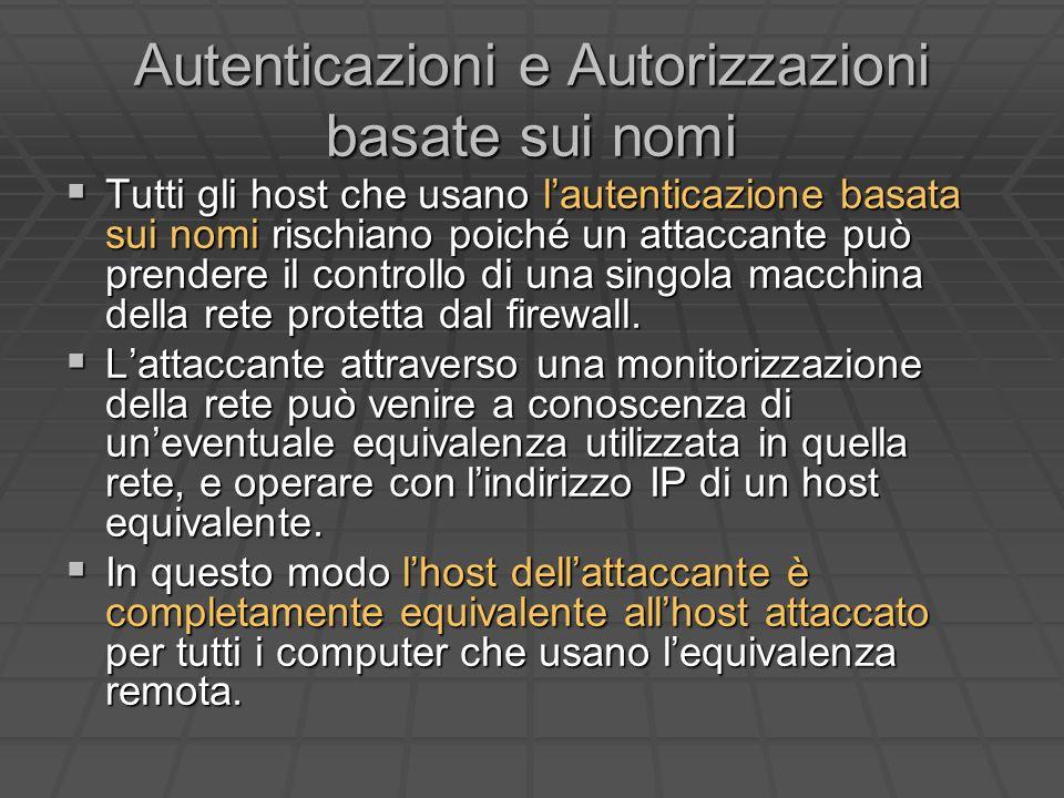 Autenticazioni e Autorizzazioni basate sui nomi Tutti gli host che usano lautenticazione basata sui nomi rischiano poiché un attaccante può prendere il controllo di una singola macchina della rete protetta dal firewall.