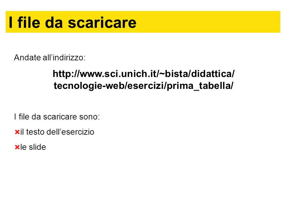 I file da scaricare Andate allindirizzo: http://www.sci.unich.it/~bista/didattica/ tecnologie-web/esercizi/prima_tabella/ I file da scaricare sono: il