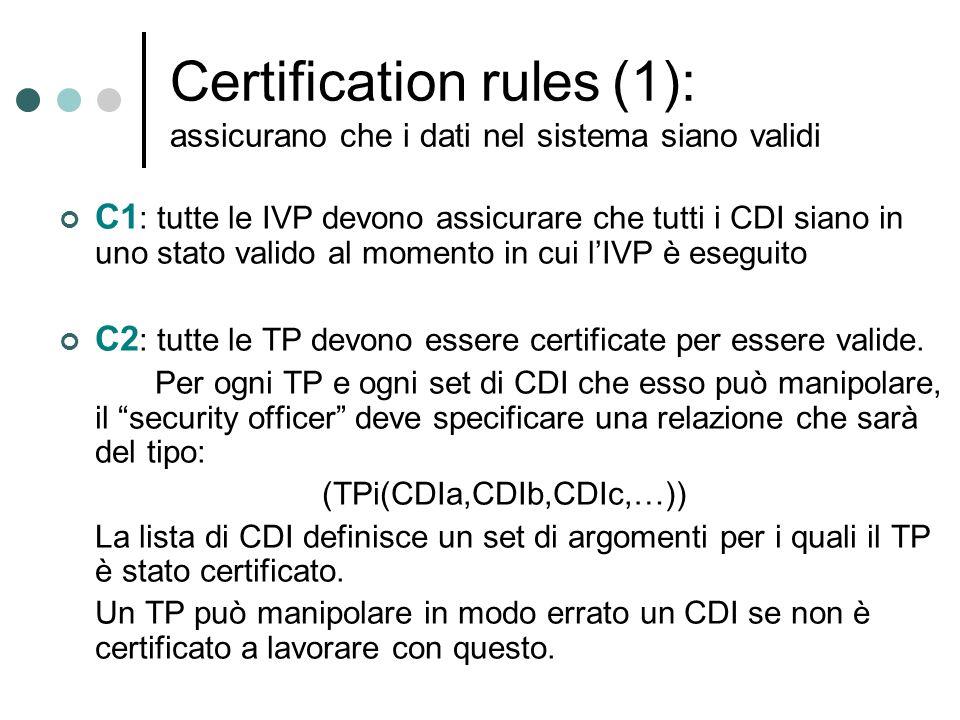 Certification rules (1): assicurano che i dati nel sistema siano validi C1 : tutte le IVP devono assicurare che tutti i CDI siano in uno stato valido