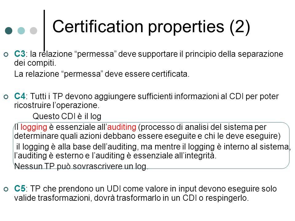 Certification properties (2) C3 : la relazione permessa deve supportare il principio della separazione dei compiti. La relazione permessa deve essere