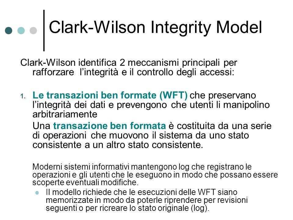 Clark-Wilson Integrity Model Clark-Wilson identifica 2 meccanismi principali per rafforzare lintegrità e il controllo degli accessi: 1. Le transazioni