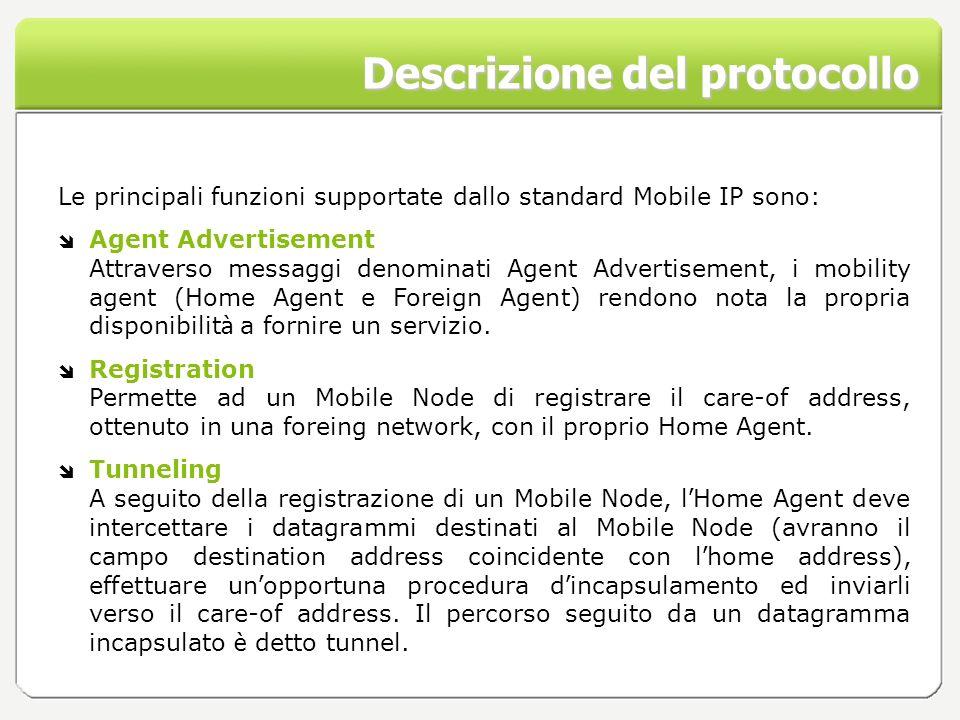 Descrizione del protocollo Le principali funzioni supportate dallo standard Mobile IP sono: Agent Advertisement Attraverso messaggi denominati Agent A