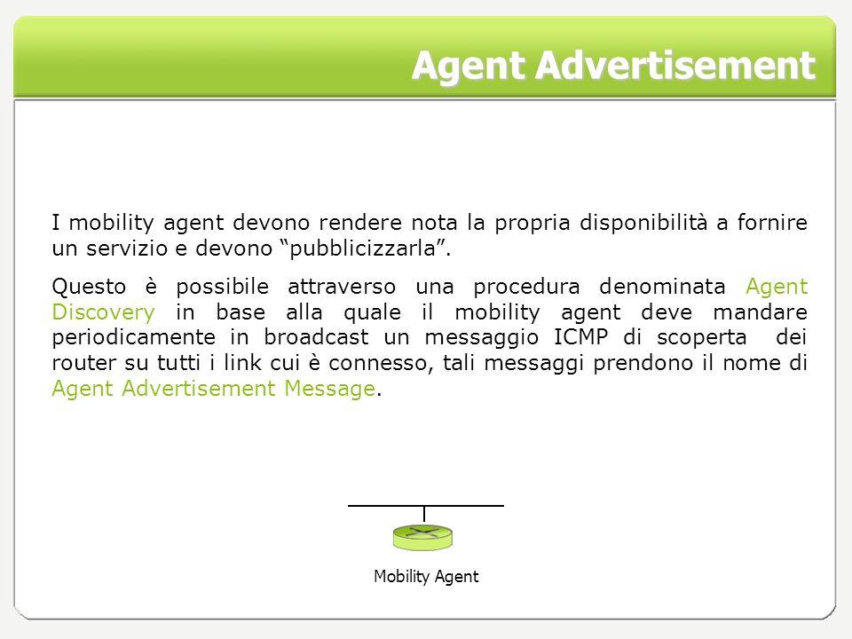 Agent Advertisement I mobility agent devono rendere nota la propria disponibilit à a fornire un servizio e devono pubblicizzarla. Questo è possibile a