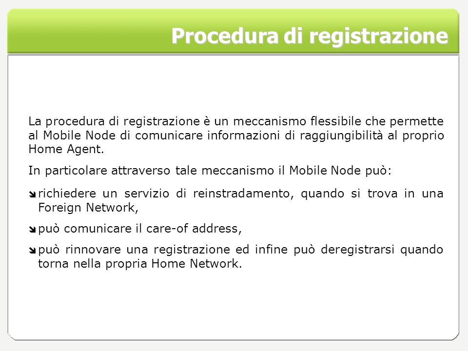 Procedura di registrazione La procedura di registrazione è un meccanismo flessibile che permette al Mobile Node di comunicare informazioni di raggiung