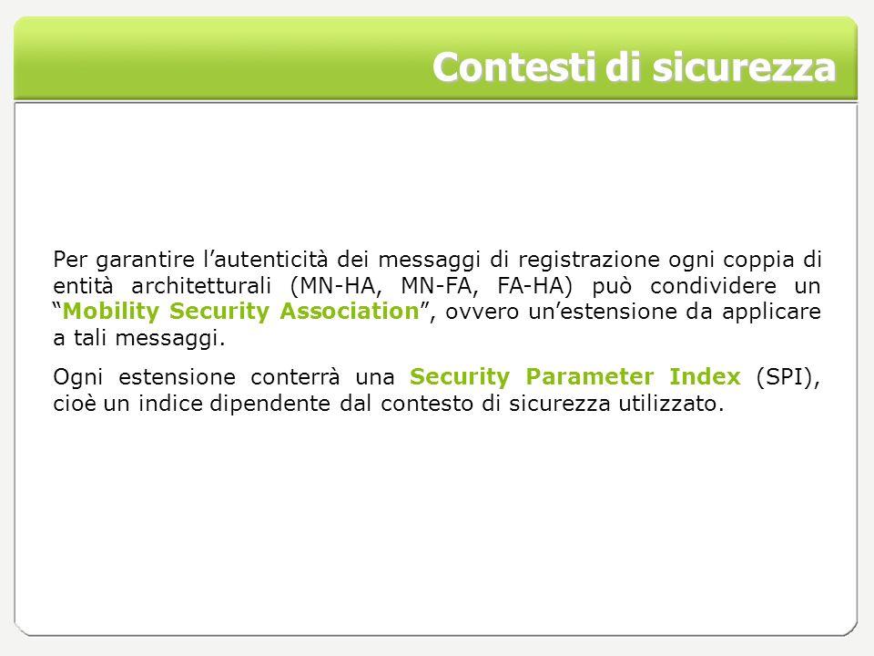 Contesti di sicurezza Per garantire l autenticit à dei messaggi di registrazione ogni coppia di entit à architetturali (MN-HA, MN-FA, FA-HA) può condi