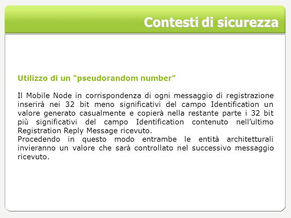 Contesti di sicurezza Utilizzo di un pseudorandom number Il Mobile Node in corrispondenza di ogni messaggio di registrazione inserir à nei 32 bit meno