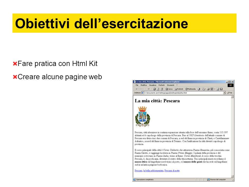 Cosa faremo 4 file html: citta.html: contenente lo stemma della città, un testo descrittivo, e tre collegamenti (ancore) a tre diverse pagine html.