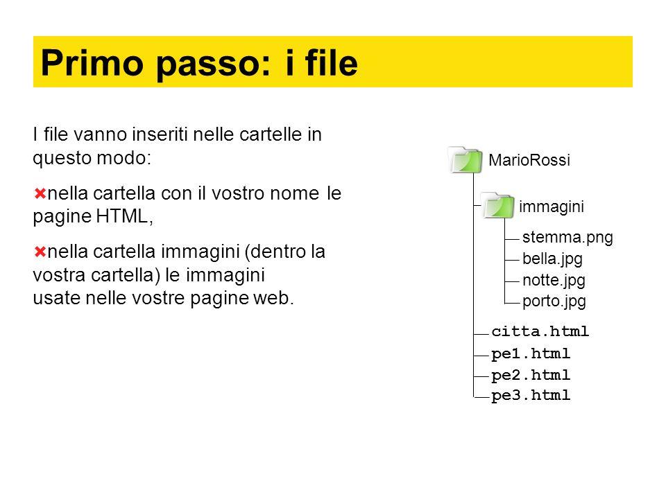 Primo passo: i file I file vanno inseriti nelle cartelle in questo modo: nella cartella con il vostro nome le pagine HTML, nella cartella immagini (dentro la vostra cartella) le immagini usate nelle vostre pagine web.